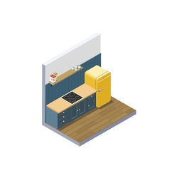 isometric of kitchen furniture home equipment vector image vector image