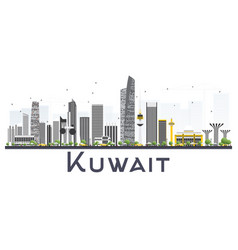 Kuwait city skyline with gray buildings isolated vector