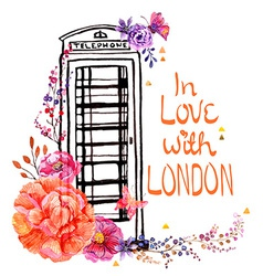 London phone booth with watercolor flowers vector image