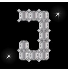Metal letter j gemstone geometric shapes vector