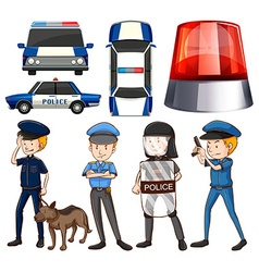 Policeman and police cars vector image vector image
