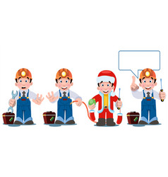 Professional electrician with electricity tools vector