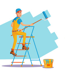 professional painter painting brush vector image