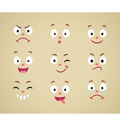 Set of cartoon emotional faces vector image vector image