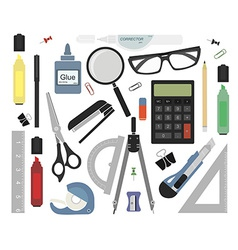 Set of stationery tools no outlines vector image