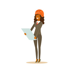 Smiling architect woman in helmet standing and vector