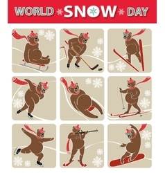 World snow daybear plays winter sporticon set vector