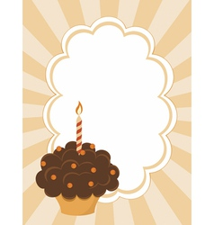 Background with birthday cupcake vector