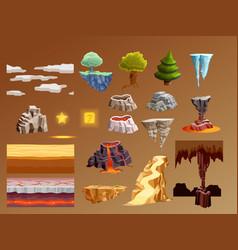 Computer games cartoon elements 3d set vector