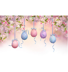 easter hanging eggs vector image