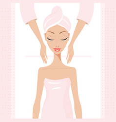 Beautiful young woman relaxing at spa salon face vector
