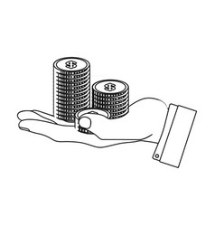 a stack of coins on his hand e-commerce single vector image