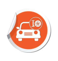 car with wheel pump icon orange label2 vector image