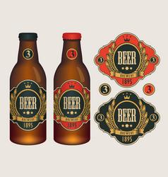 Beer labels for two beer bottles vector