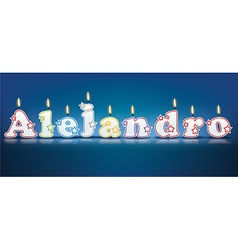 Alejandro written with burning candles vector