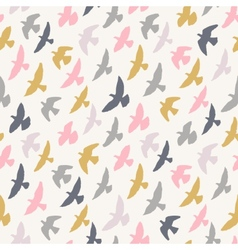 Seamless pattern of flying birds pastel vector