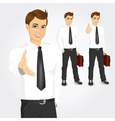 Set of businessmen with briefcases vector