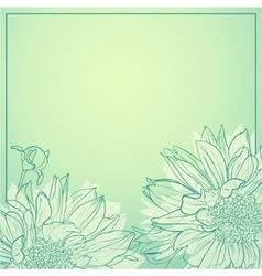 Delicate flowers on green background vector