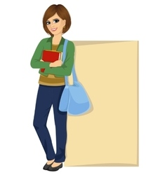 Student leaning against a blank board vector
