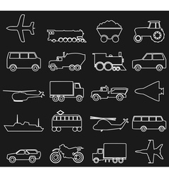 Transport outline icons vector