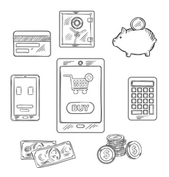 Online shopping objects and icons vector