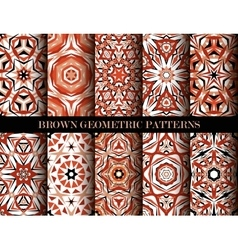 Brown geometric patterns set vector
