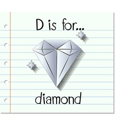 Flashcard letter d is for diamond vector