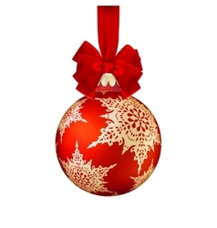 Red christmas ball with bow eps 10 vector