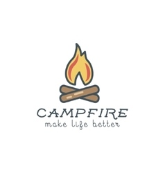 Camping logo design with typography and travel vector