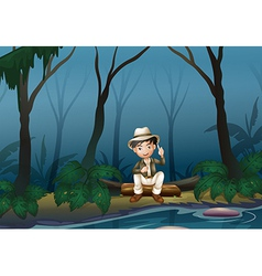 A man sitting above a trunk inside the forest vector image