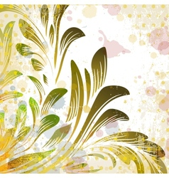 Abstract grunge background with green branch vector image