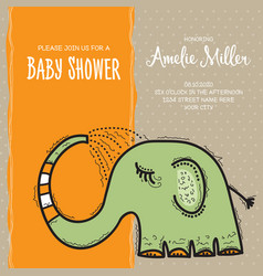 baby shower card template with funny doodle vector image