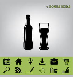 Beer bottle sign black icon at gray vector