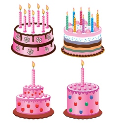 birthday cakes vector image vector image