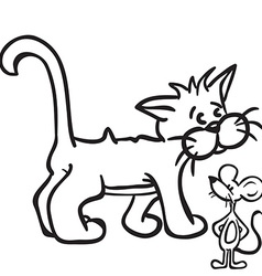 black and white cat and mouse vector image