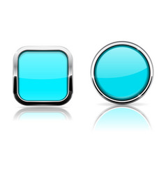 blue turquoise buttons shiny glass square and vector image