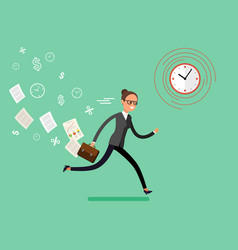 Business woman running and hurry up vector