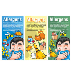 Cartoon colorful allergy vertical banners vector