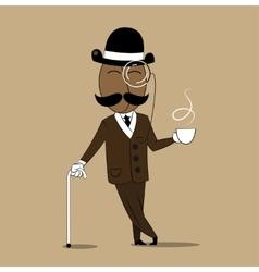 cheerful coffee bean holding a mug with hot coffee vector image