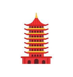 Chinese pagoda building cartoon multi-tiered vector