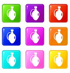 Clay jug icons 9 set vector