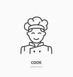 cook flat logo line icon smiling chef vector image vector image