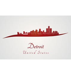 Detroit skyline in red vector
