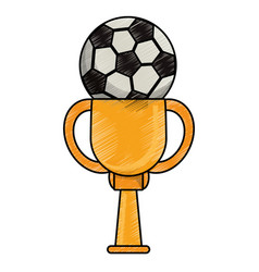 drawing soccer winner cup vector image