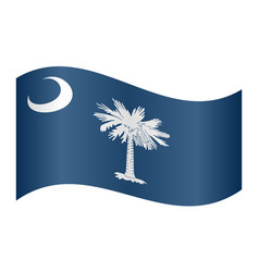flag of south carolina waving on white background vector image