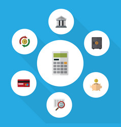 Flat icon gain set of calculate bank interchange vector