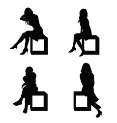 Girl silhouette pose sitting in black color vector