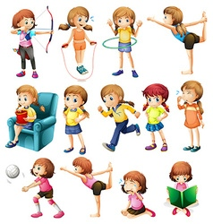 Girls doing different activities vector image