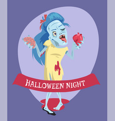 Halloween night lady zombie vector