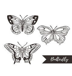 Hand drawn butterfly logo design collection vector